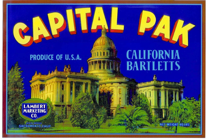Sacramento California Capital Building Pear Crate Label