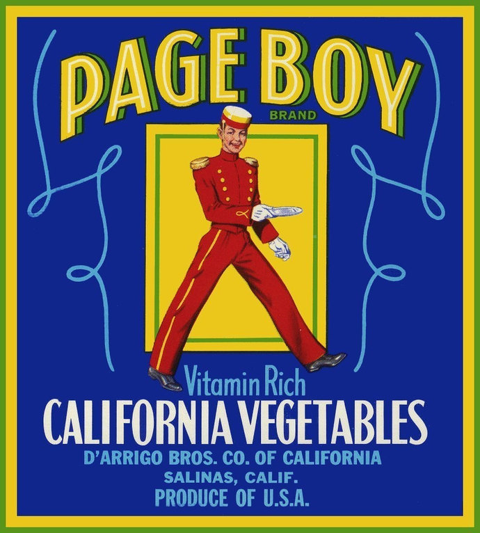 Bell Hop Page Boy Vegetable Crate Label from Salinas California