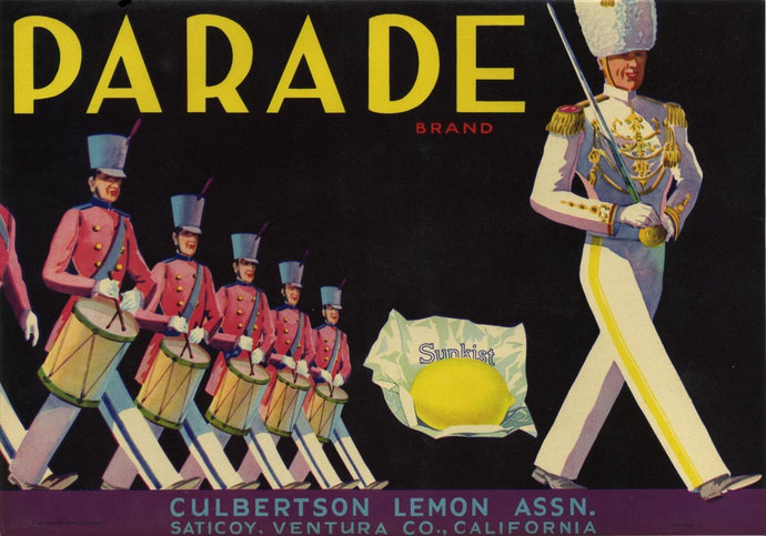 Marching Band Parade Lemon Crate Label