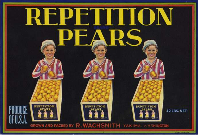 Triplet Boys Selling Pears Crate Label Yakima Washington