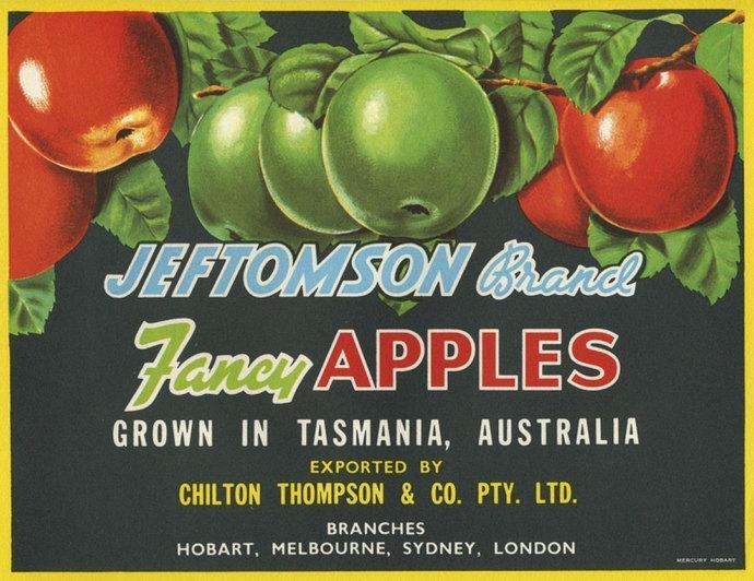 Jeftomson Apple Crate label Tasmania Australia