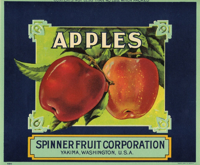 Red Apple Fruit Crate Label in  Art Deco Style
