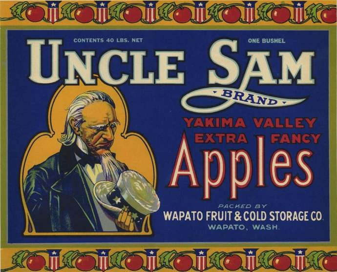 UNCLE SAM Apple crate label - blue, Wapato