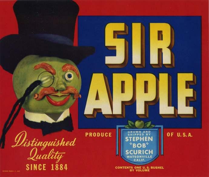 Sir Apple crate label anthropomorphic 1930's