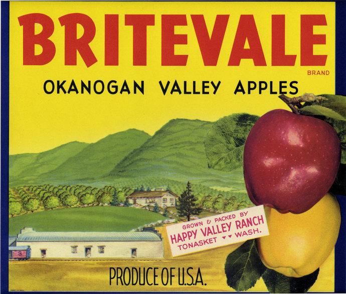 Two Okanogan Valley Tonasket Washington Apple Crate labels