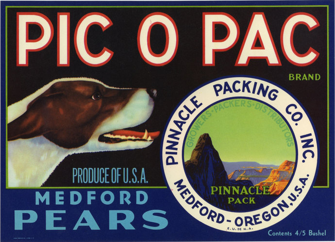 Pic o Pack Dog Medford Crate Label