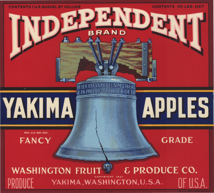 Independent Yakima apple crate label - pink and red