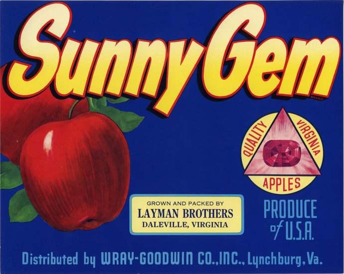 Sunny Gem Daleville Lynchburg Virginia crate label