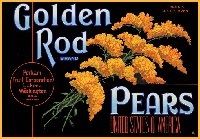 Golden Rod Pear Crate Label