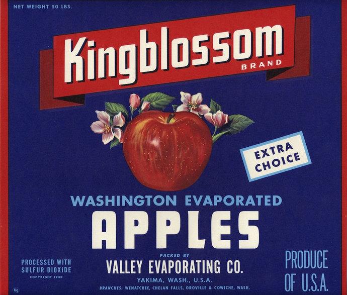 Kingblossom Apple Crate Label Yakima Washington