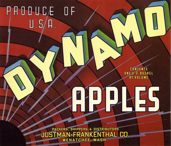 Dynamo Apple Crate Label Radio Waves Wenatchee