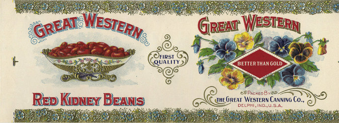 Great Western embossed Kidney Bean can label Indiana