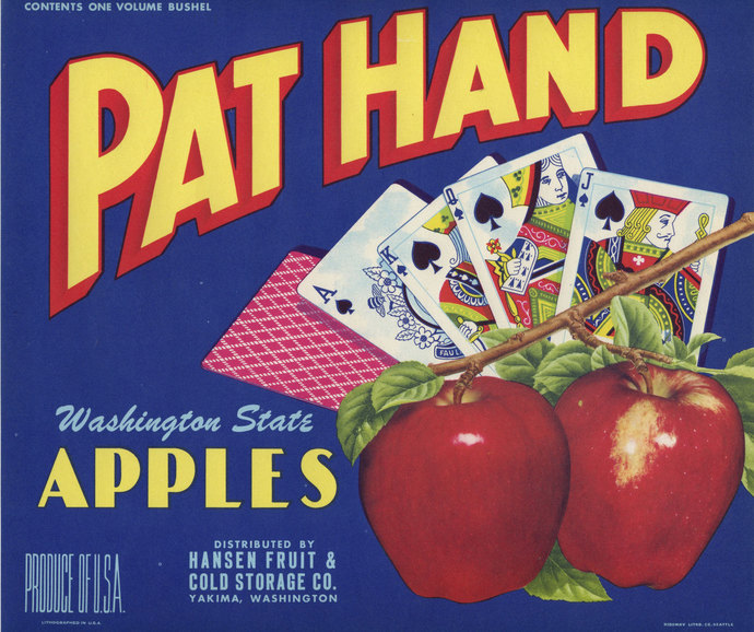 Pat Hand Poker Gambling Cards Apple Crate Label