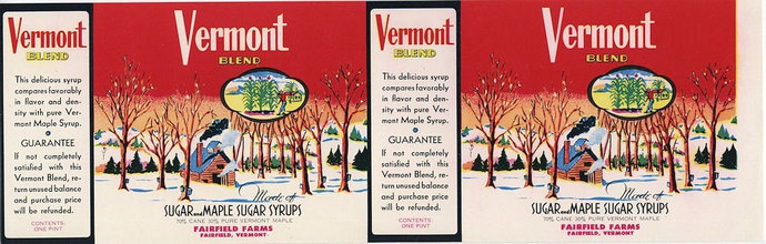 Vermont Blend Maple Syrup can label