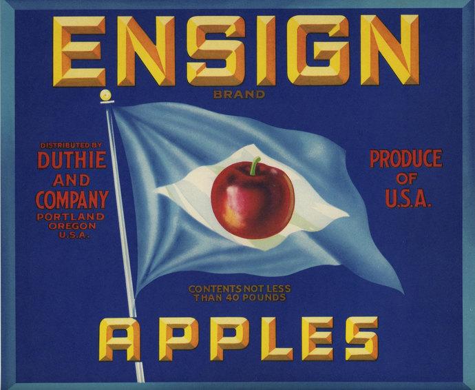 Ensign Apple crate label blue flag