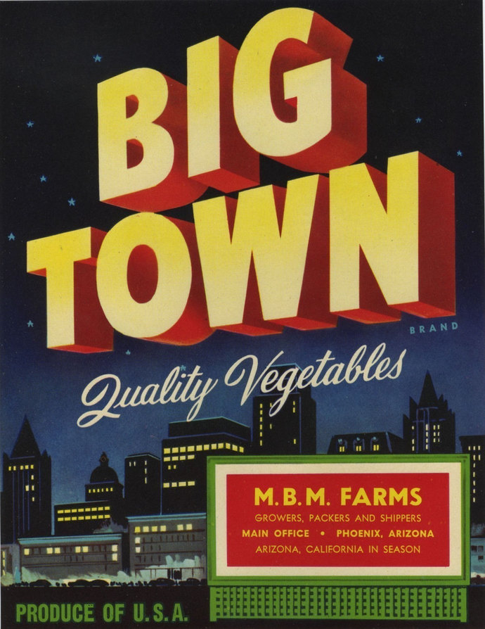 Big Town Skyline Vegetable Crate Label from Arizona
