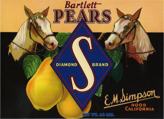 Bartlett Pear Horse Pear crate label Colfax California