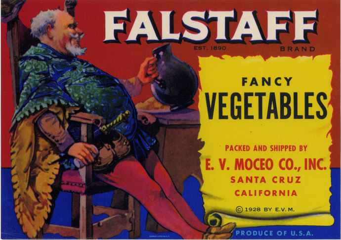 Falstaff Fancy Vegetable crate label