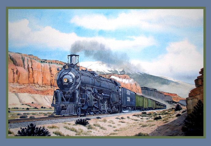 Santa Fe Locomotive Train Travel Poster Refrigerator Magnet