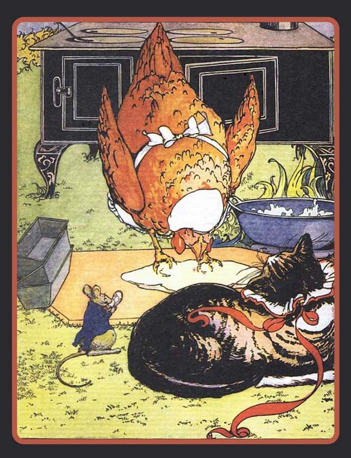 Red Hen Cooking and Cat Watching Refrigerator Magnet