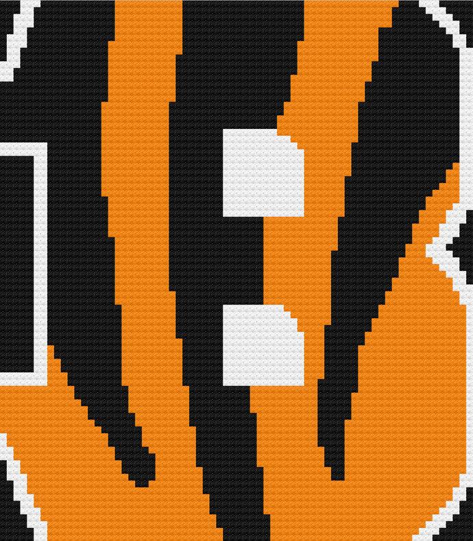 Cincinnati Bengals Throw Blanket C2C Crochet Pattern PDF Graph & Written