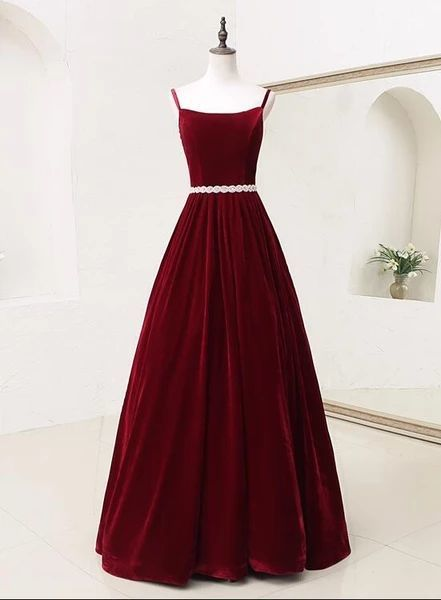 Burgundy Velvet Straps Long Evening Gown, Charming New Prom Dress with Belt