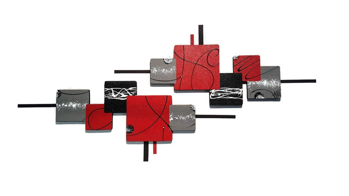 Contemporary Modern Abstract Art Sculpture, Wood Metal Wall Sculpture, Metal