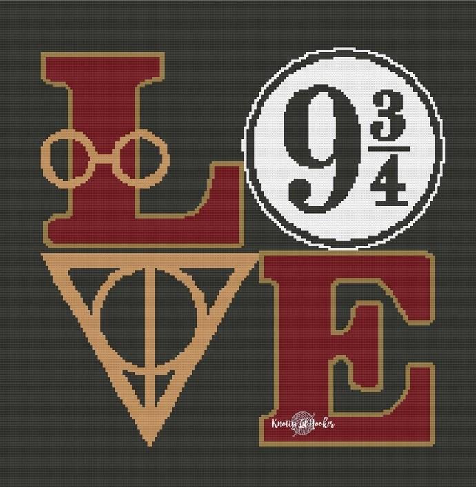 Harry Potter Love 9 3/4 Blanket Crochet Pattern
