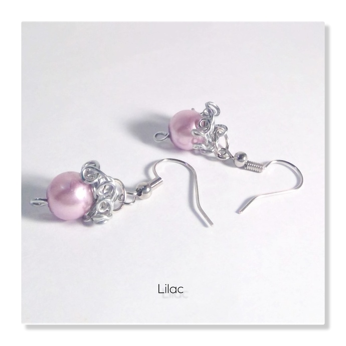 Dangle Curly Pearls Holiday Earrings High Gloss Pastel Glass Pearls