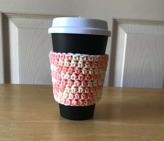 Peach Coffee Cup Cozy, Coffee Cup Sleeve