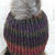 Hand Knitted Women's Multicolicoloured Winter Hat With A Light Brown Pom Pom -