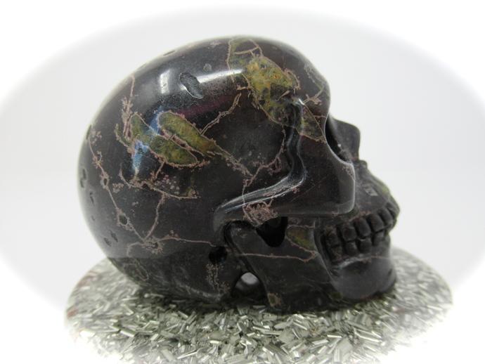 Plumite Poppy Jasper Crystal Skull Carving 75mm 298g