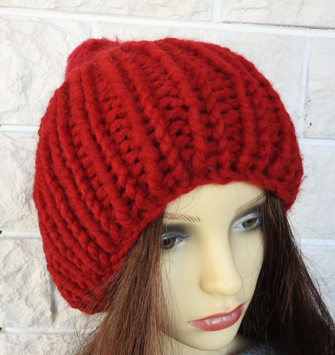 Hand Knitted Women's Red Ribbed Winter Hat With A Red Pom Pom - FREE SHIPPING