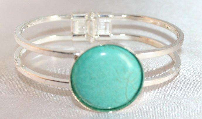 Bright Silver Color Bangle Bracelet, Turquoise Cabochon Setting Statement
