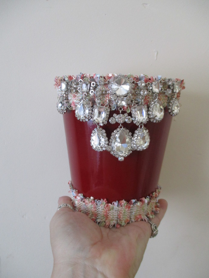 Awesomely Blinged Up 8 inch Plant Pot - Handcrafted