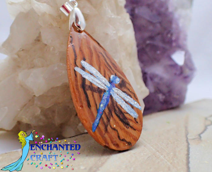 Amazing handpainted blue dragonfly wood pendant resin coat on both sides faux