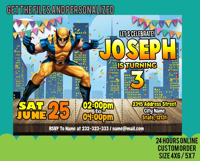 Wolverine Invitation, Wolverine Banner, Wolverine Thank You, Wolverine Tags,