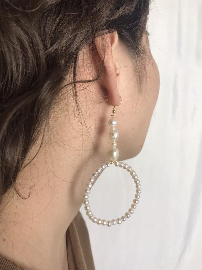 Dangle long pearl earrings , White  Pearl Earring Drop