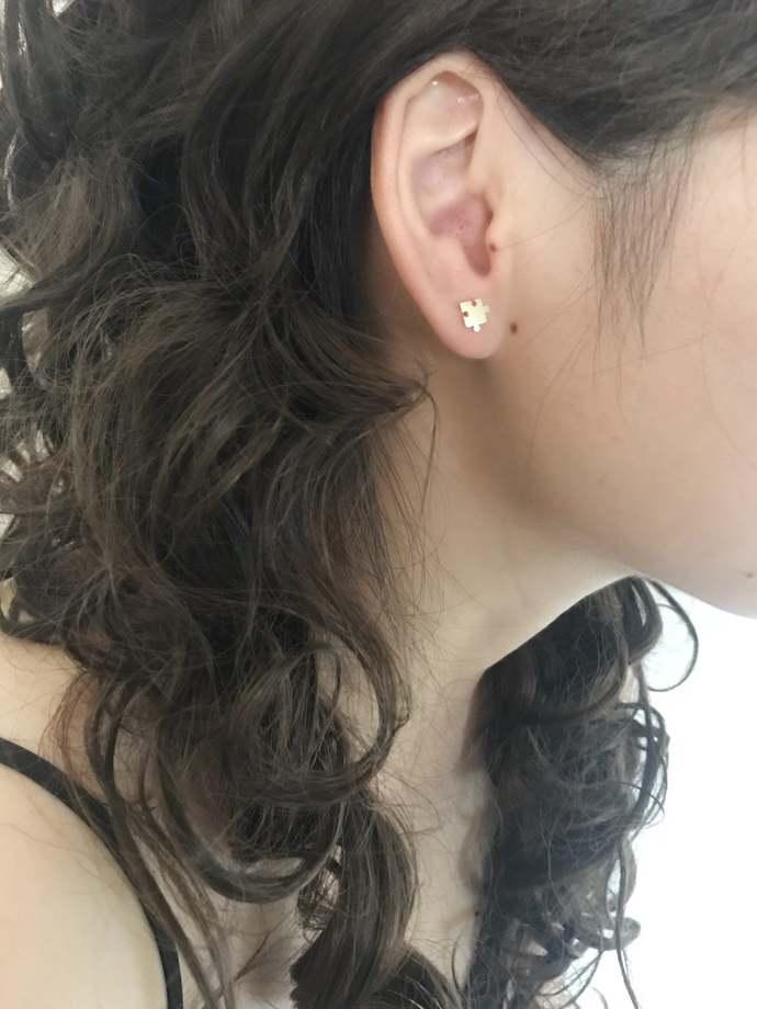 Puzzle Silver Studs Earring, Unisex Earrings, Fun earrings, Playful earrings,