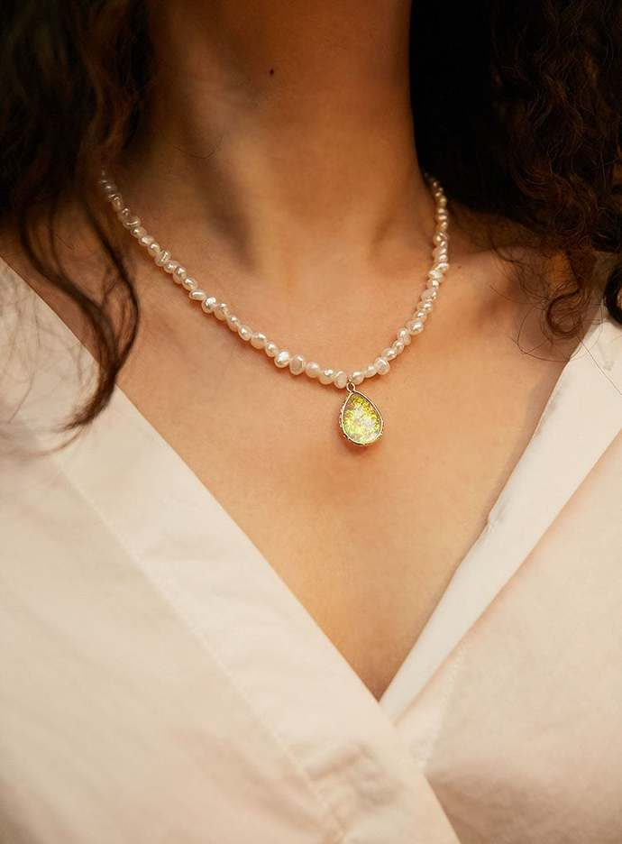 White Pearl Strand Necklace with colored glaze Pendant,Bridal,Sterling|Baroque|