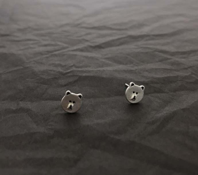little bear silver studs Earring, Unisex Earrings, Fun earrings, Playful