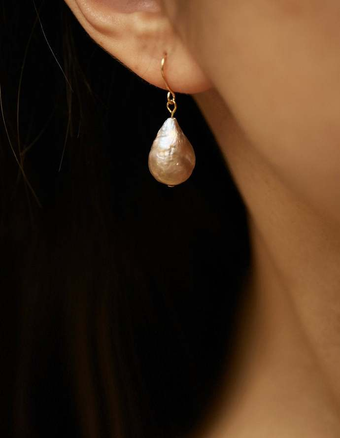 Big Baroque Pearl Hook Dangle Earring, Handmade, Gold Filled