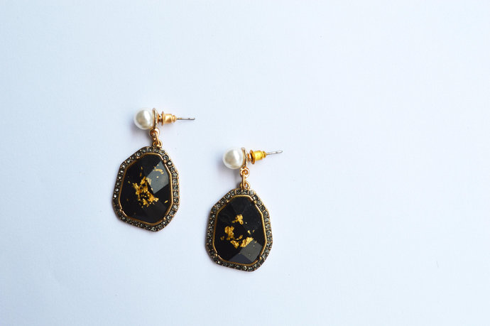 Statement Gold Crystal Black Pearl Drop Dangle Earring- 80s Golden Age