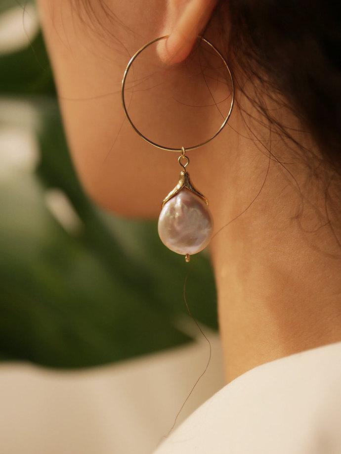 Gold Filled Dangle Pearl Earring  Flower Petal Earrings  Easy chic Modern Pearl