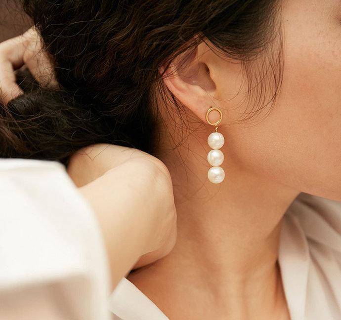 Three/OnePearl Earrings|Dangle Baroque Pearl Earrings|Gold Filled Big PearlGift