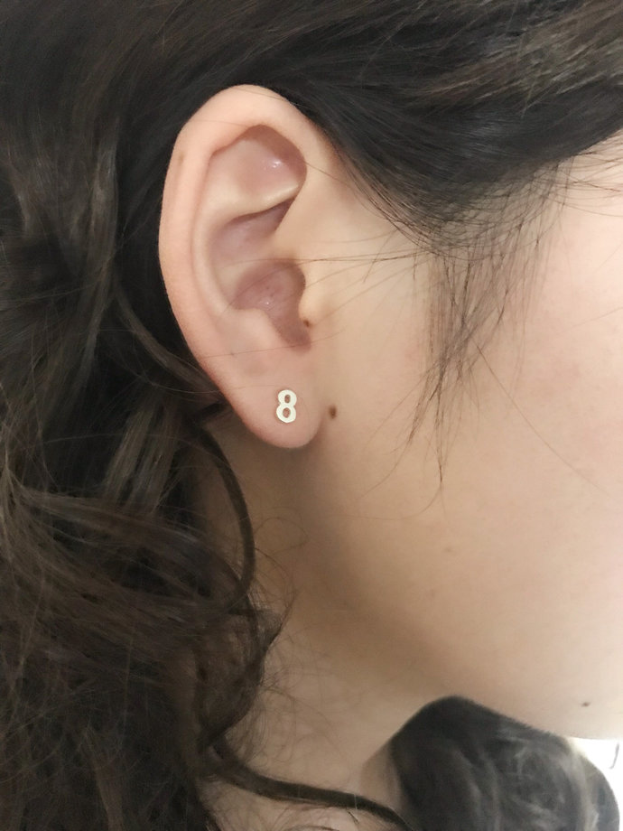 Lucky Number Studs Tiny Silver Earring, Pearl Double Sided Earrings,Special Day