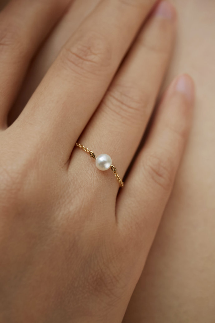 Freshwater Pearl Ring |Tiny Pearl Ring|Pearl rings||Dainty Chain Ring|Gift for