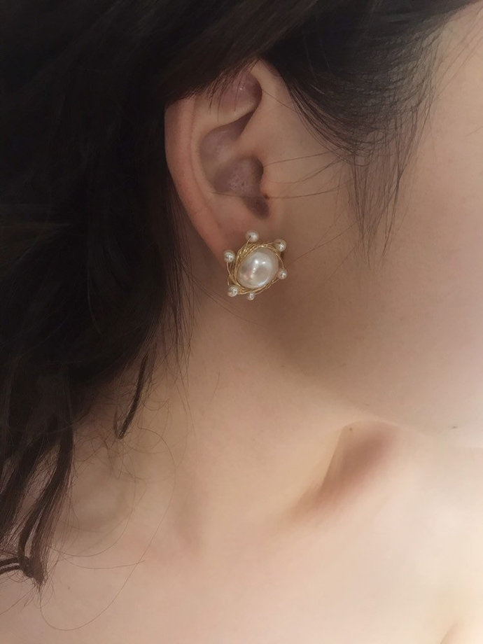White Flat Baroque Freshwater Pearl Sun Dangle Earrings Gold Filled, Ivory,