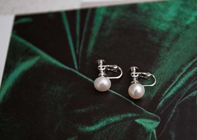 Pearl Earrings Pearl Clip Earrings Freshwater Pearl Earrings 925