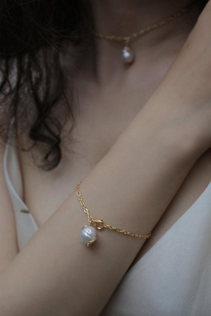 Pearl Bracelet and Necklace Set Gold Filled Big Pearl Bracelet- Gift For